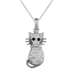 Silver Plated Cat Pendant with White Crystals