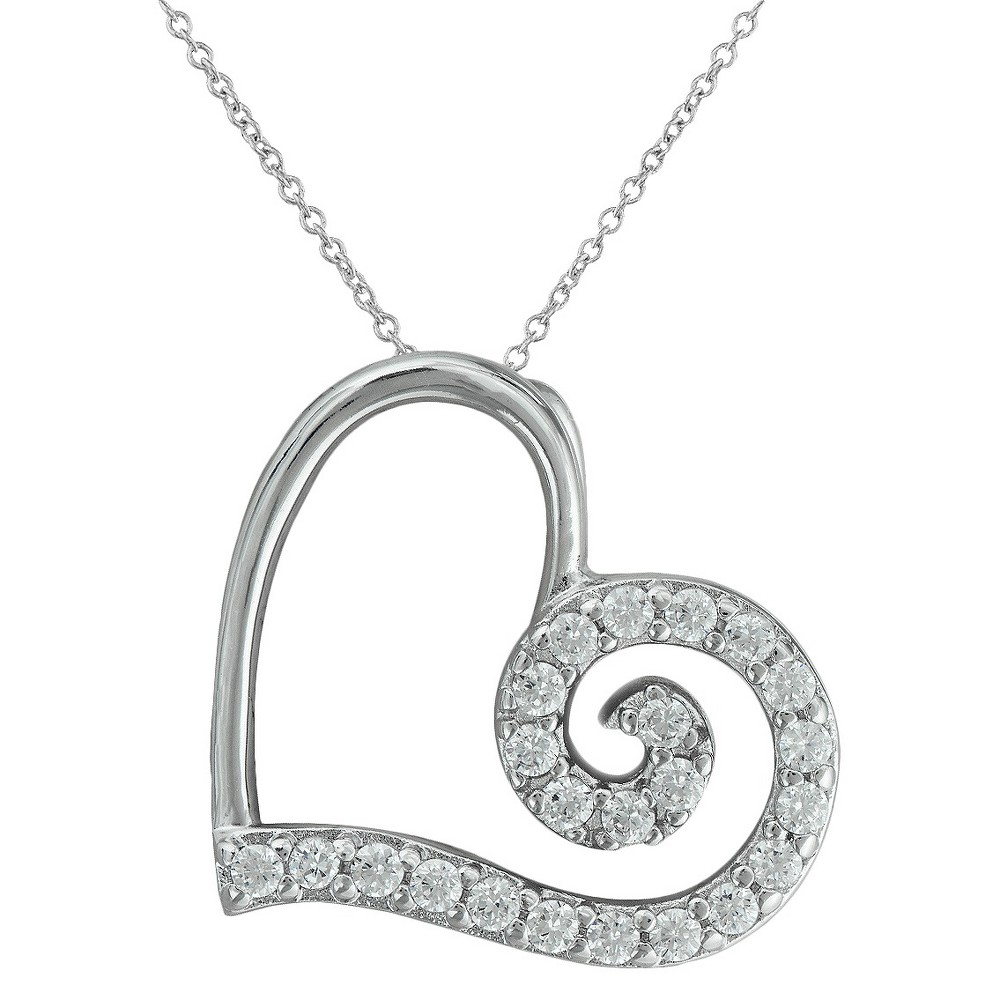 Silver Plated Heart Pendant with Cubic Zirconia, Womens