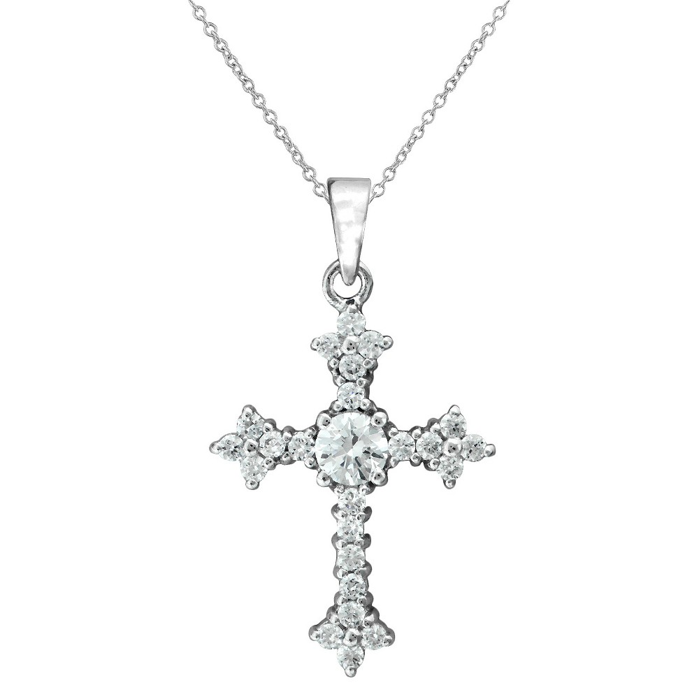 Silver Plated Cubic Zirconia Cross Pendant, Womens