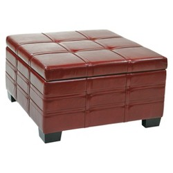 Detour Storage Strap Ottoman with Tray Eco Leather Storage Ottoman Crimson Red - Office Star