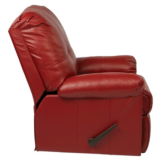 Red Leather Reclining Chair new kensington eco leather recliner-crimson red - office star : target