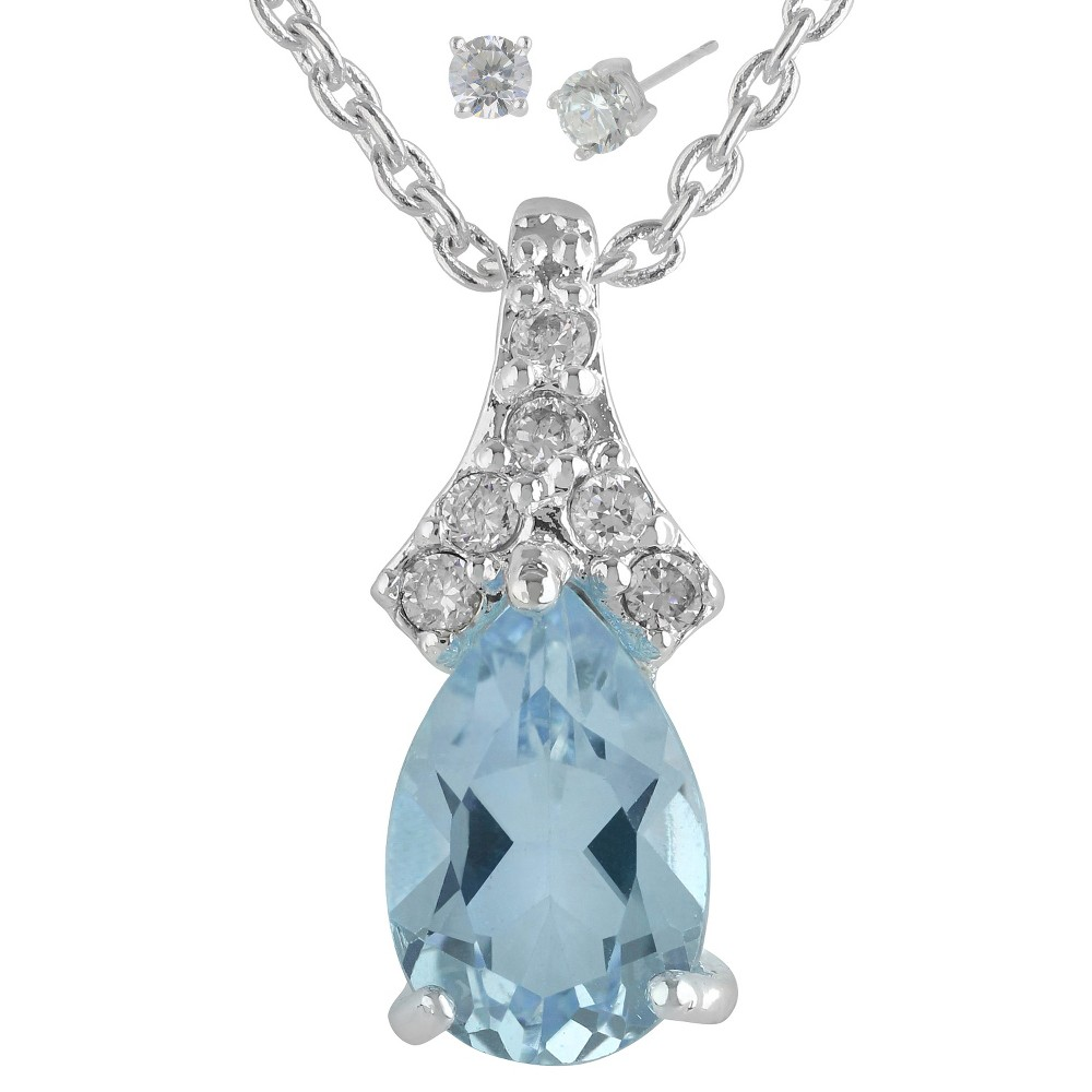 Womens Silver Plated Pendant Necklace with Pear Topaz Earring - Silver/Blue (18)