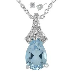 "Women's Silver Plated Pendant Necklace with Pear Topaz Earring - Silver/Blue (18"")"