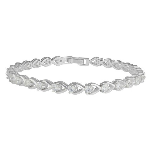 "Women's Silver Plated Cubic Zirconia Tennis Bracelet - Silver/Clear (7.25"") - image 1 of 1"