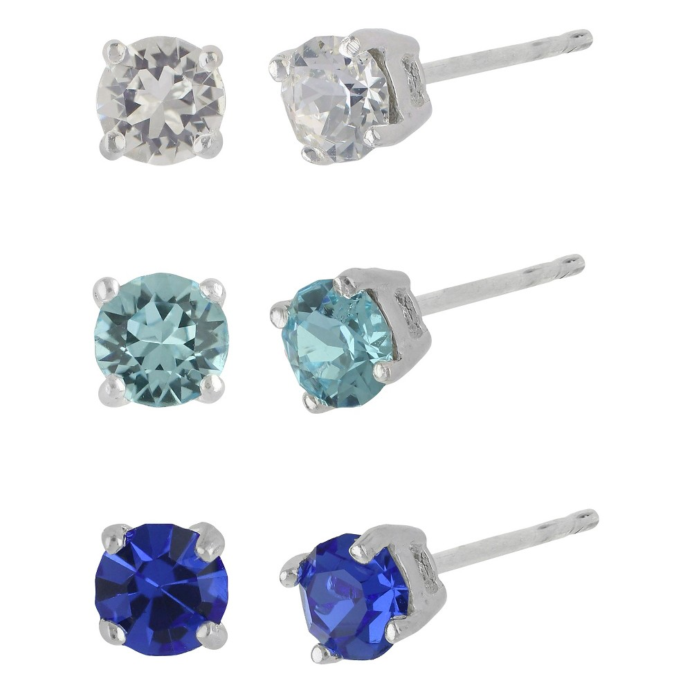 Womens Sterling Silver Cubic Zirconia Set of 3 Round Stud Earrings - Silver(4 mm)