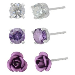 Women's Sterling Silver Set of 3 Rose and Stud Earrings - Silver
