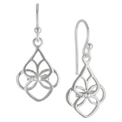 Women's Sterling Silver Drop Earring with Open S Teardrop - Silver