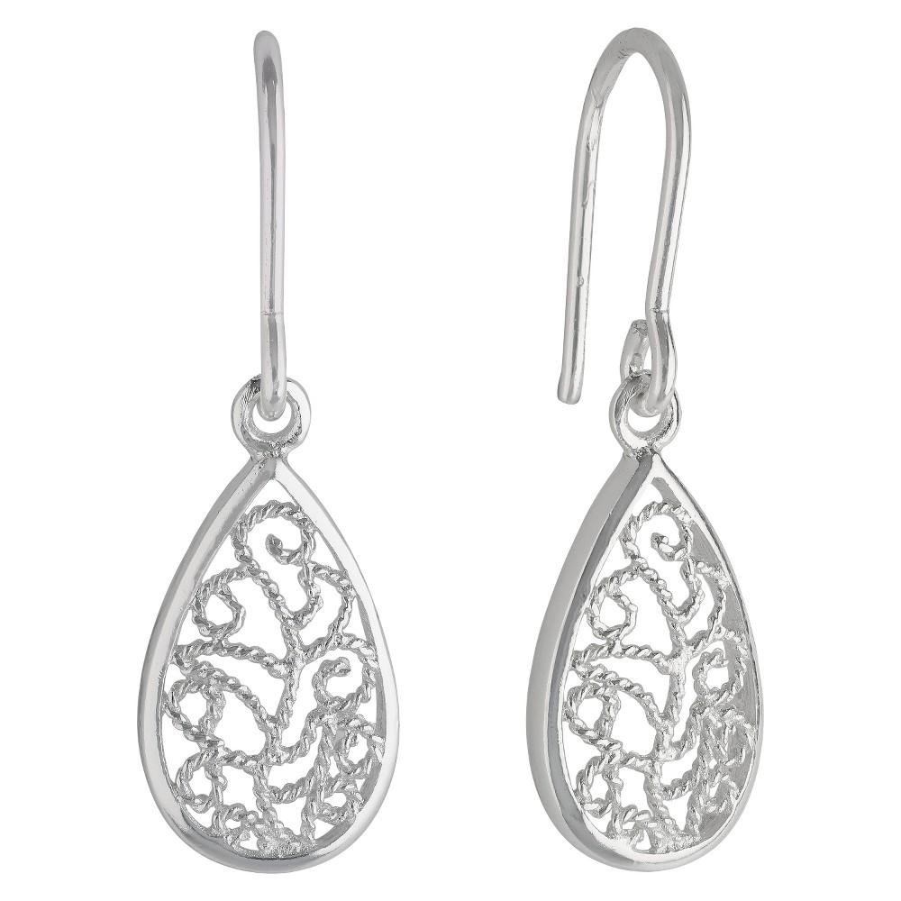 Womens Sterling Silver Drop Earring with Small Teardrop Filigree - Silver