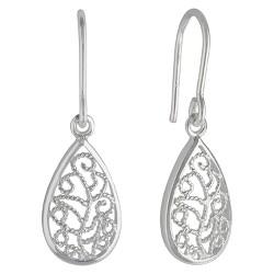 Women's Sterling Silver Drop Earring with Small Teardrop Filigree - Silver