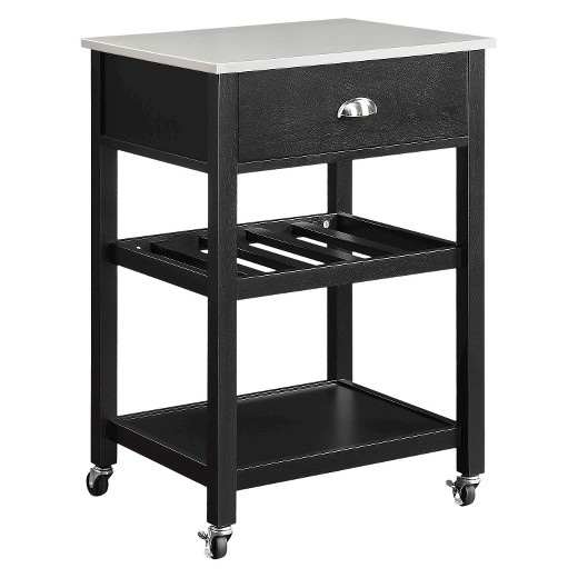 Stainless steel top kitchen cart black threshold target - Target kitchen cart ...