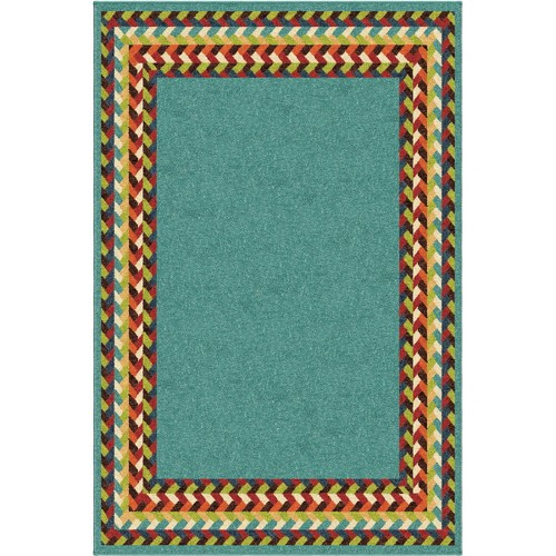 'Braid Border Area Rug - Teal (Blue) (5'x3''x7'6'')'