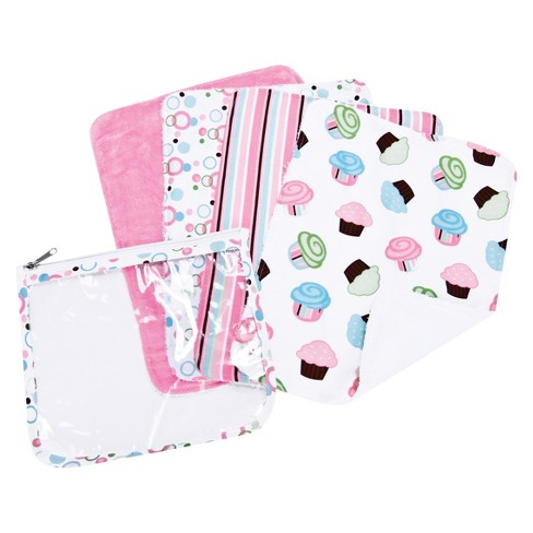 Trend Lab 5pc Baby Burp Cloth and Pouch Set - Cupcake - image 1 of 2