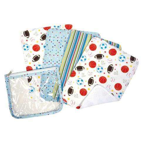 Trend Lab 5pc Baby Burp Cloth and Pouch Set - Little MVP - image 1 of 2