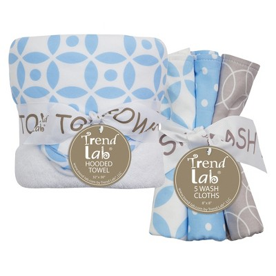 Trend Lab 6pc Baby Hooded Towel and Wash Cloth Set - Logan