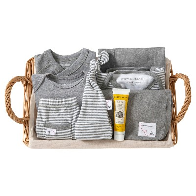 Burt's Bees Baby Organic Take Me Home Striped Gift Basket - Heather Gray 0-3 M