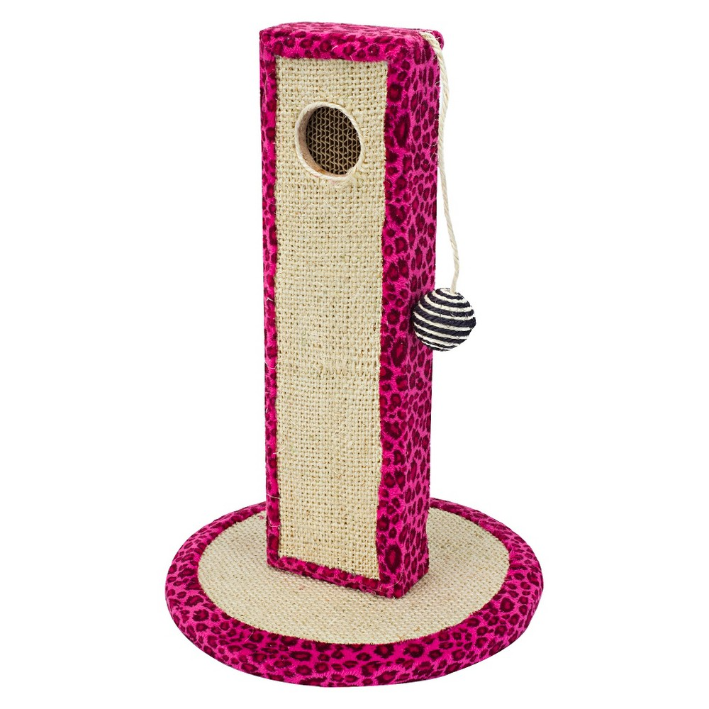 Cat-Life Activity Tower in Neon Pink Leopard Print with Extra Corrugated Refill from Penn-Plax