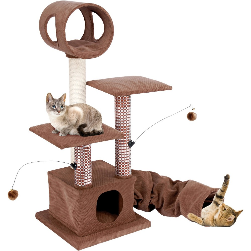 Cat-Life Activity Lounging Tower & Tunnel with Retreat Hide-Away from Penn-Plax