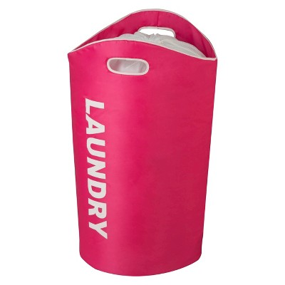 Honey-Can-Do Laundry Hamper with Drawstring - Pink