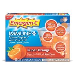 Emergen-C® Immune+® Dietary Supplement Powder Drink Mix with Vitamin D, 1000mg Vitamin C - Super Orange Flavor - 30ct