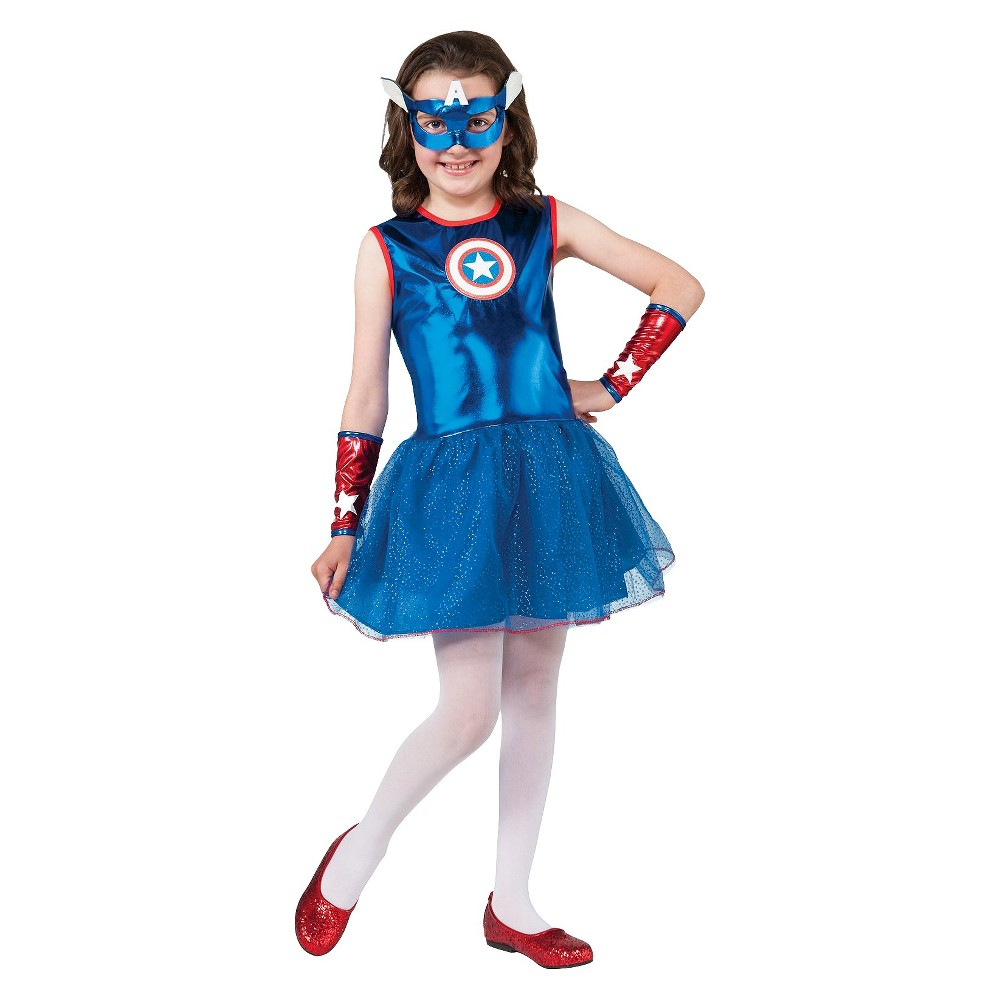 Marvel Captain America Girls Costume Small (4-6), Size: S(4-6), Variation Parent