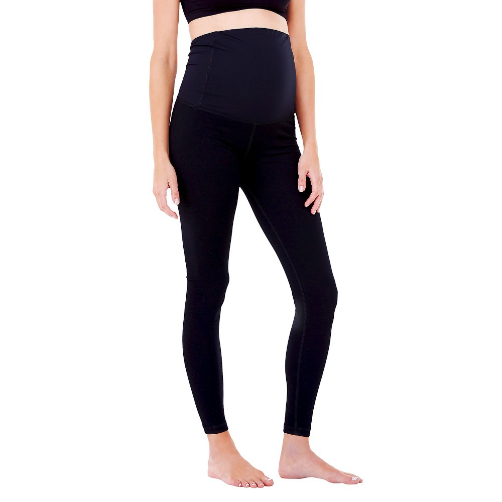 BeMaternity by Ingrid & Isabel Yoga Black S Legging with Crossover Panel, Women's
