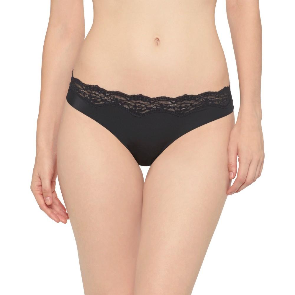 Women's Micro Laser Cut Thong Black XL