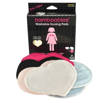 Bamboobies Milk Proof Regular & Overnight Washable Multi Colored Nursing Bra Pads   4pk by Bamboobies