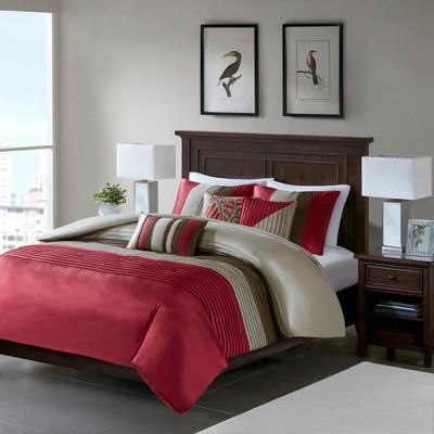 Red/Brown Salem Pleated Duvet Cover Set Queen 6pc - JLA Home