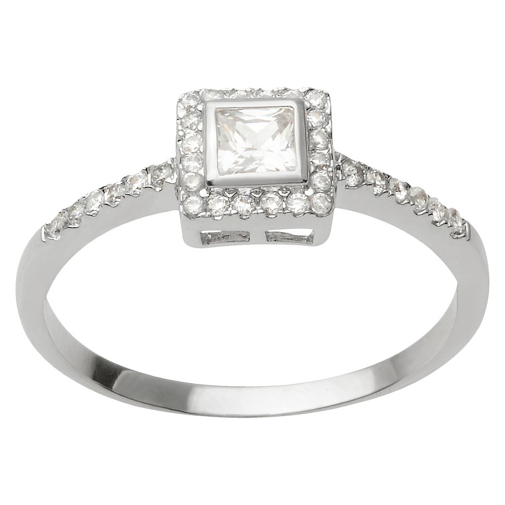 3/8 CT T.W. Square Cut Cubic Zirconia Basket Set Bridal Style Ring in Sterling Silver (7), Womens