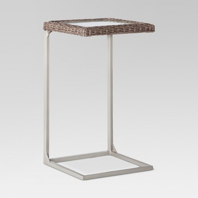 Heatherstone Wicker Patio Side Table - Gray - Threshold™