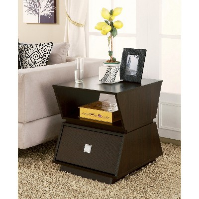 Layla Modern End Table With Drawer Cappuccino   HOMES: Inside + Out