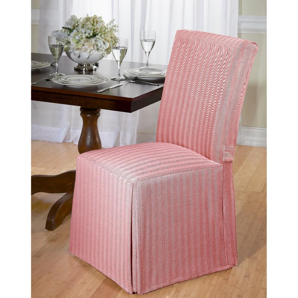 Madsion Red Herringbone Dining Room Chair Slipcover