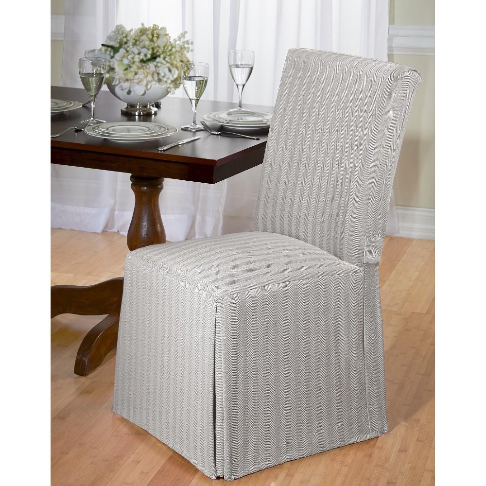 Madsion Gray Herringbone Dining Room Chair Slipcover