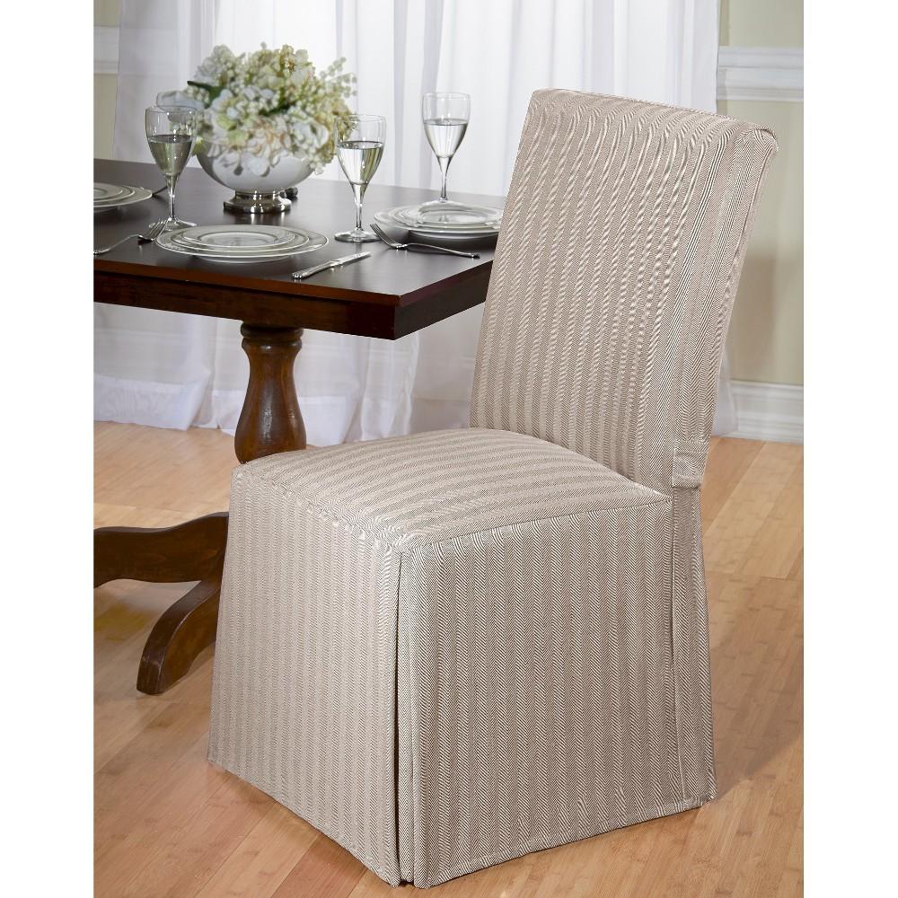 Madsion Tan Herringbone Dining Room Chair Slipcover