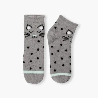 Women's 2pk Cat Nap Cozy Low Cut Socks - Xhilaration™ Black One Size