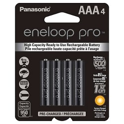 Panasonic eneloop pro AAA High Capacity, Ni-MH Pre-Charged Rechargeable Batteries - 4 Pack