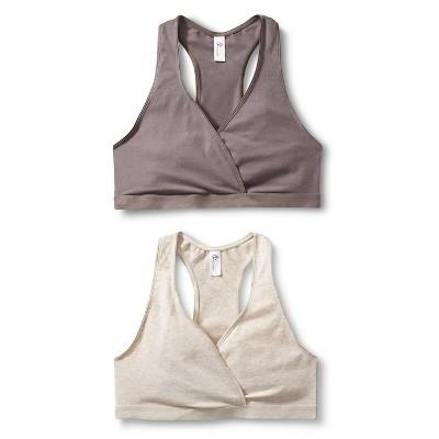 Women's Nursing Sleep Bra Mauve Gray/Oatmeal L 2pk - Gilligan & O'Malley™
