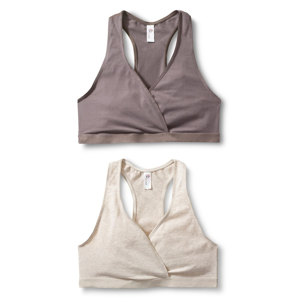 Womens Nursing Sleep Bra Mauve Gray/Oatmeal XS 2pk