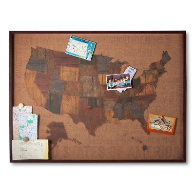 Cork Board US Map (30 x40 )(Includes 15 Flag Pins)