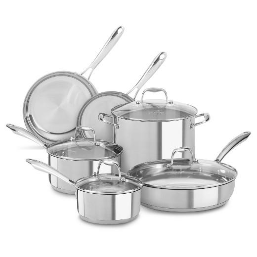 Kitchenaid 10pc stainless steel cookware set kcss10 target - Kitchen aid pan set ...