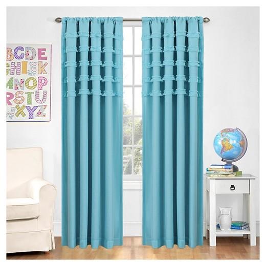 Ruffle Batiste Window Panel Turquoise 50 X84 Eclipse My Scene Target