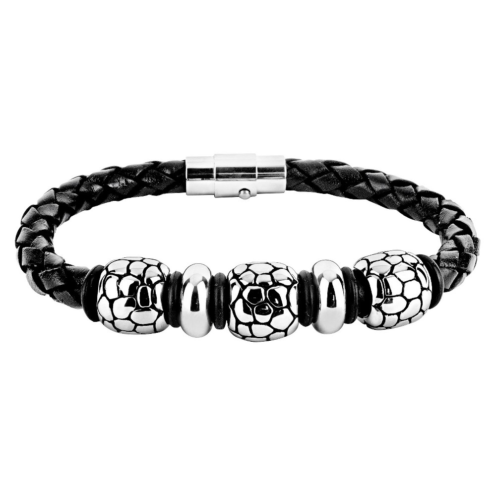 Mens Crucible Braided Leather Bracelet with Stainless Steel Reptilian Beads - Black