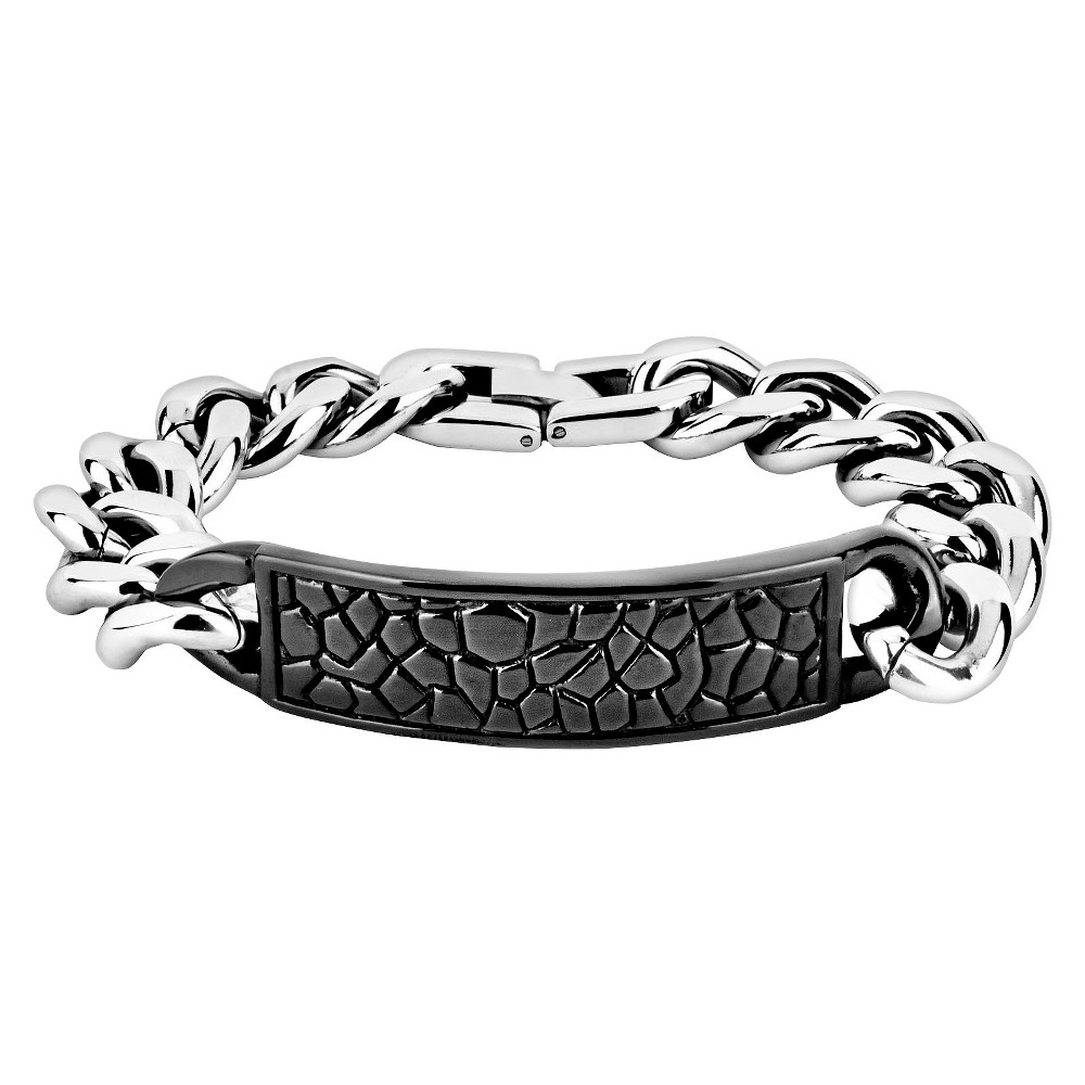 Mens Crucible Stainless Steel Reptile Texture ID Bracelet - Black, Black/Silver