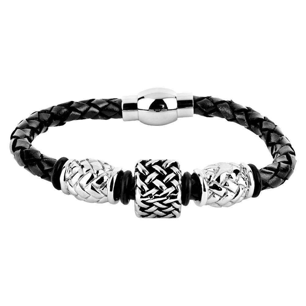 Mens Crucible Leather and Steel Bead Braided Bracelet - Black