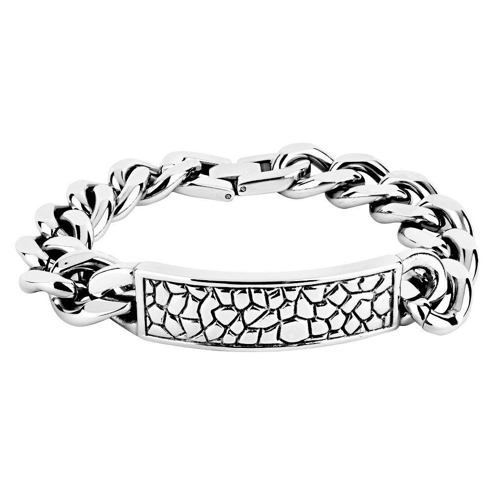 Mens Crucible Stainless Steel and Reptile Texture ID Bracelet, White
