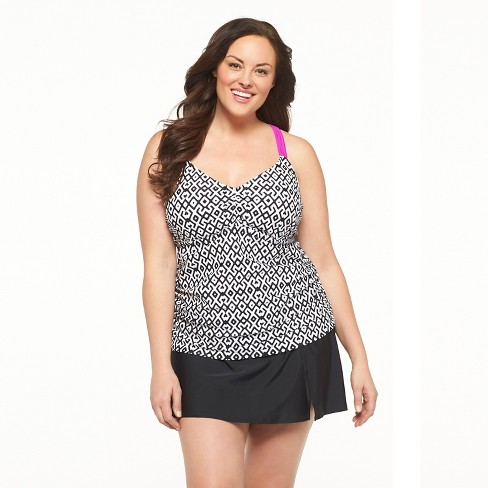 Women's Plus Size Tankini Swim Top Black/White/Purple - Ava & Viv™ - image 1 of 2