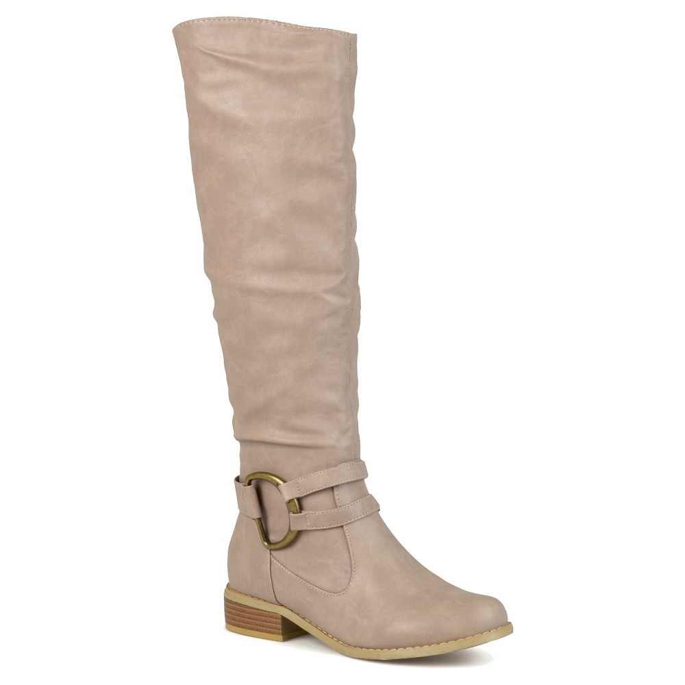 Womens Journee Collection Charming Knee-High Riding Boots - Stone (Grey) 9