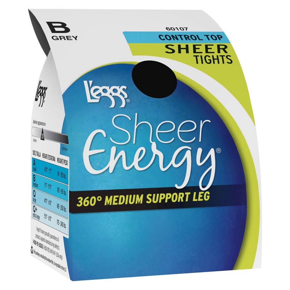 Plus Size Leggs Sheer Energy Womens Sheer Tight - Black Q Plus, Size: Queen Plus