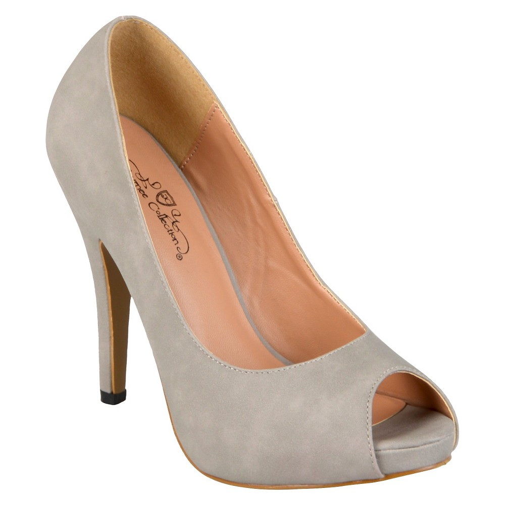 Womens Journee Collection Peep Toe Platform Pumps - Gray 8.5