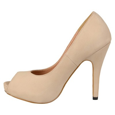 Women's Journee Collection Peep Toe Platform Pumps - Nude 7